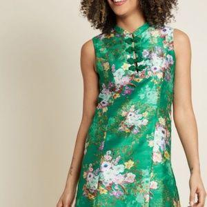 ModCloth Era of Aplomb Shift Green/Teal Dress
